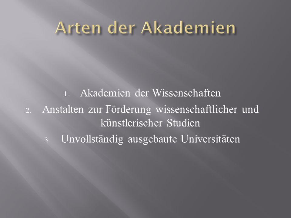 Arten der Akademien Akademien der Wissenschaften