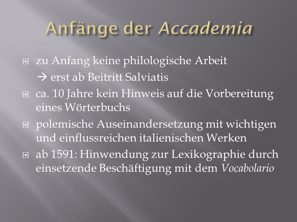 Anfänge der Accademia zu Anfang keine philologische Arbeit