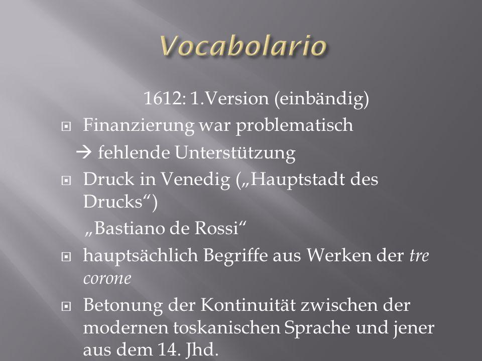 Vocabolario 1612: 1.Version (einbändig) Finanzierung war problematisch