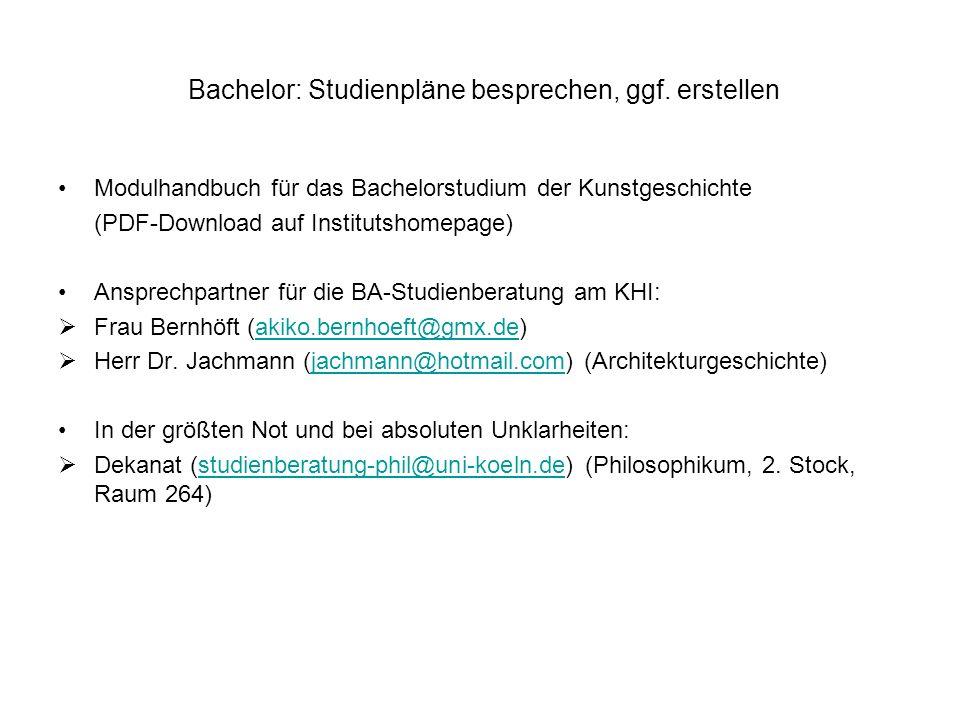 Bachelor: Studienpläne besprechen, ggf. erstellen