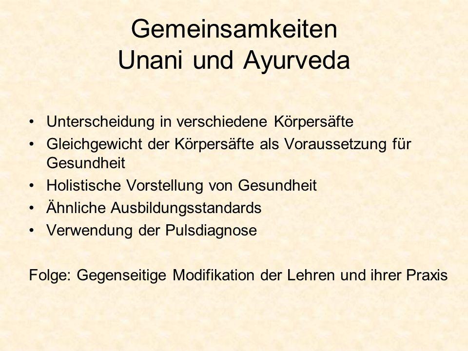 Gemeinsamkeiten Unani und Ayurveda
