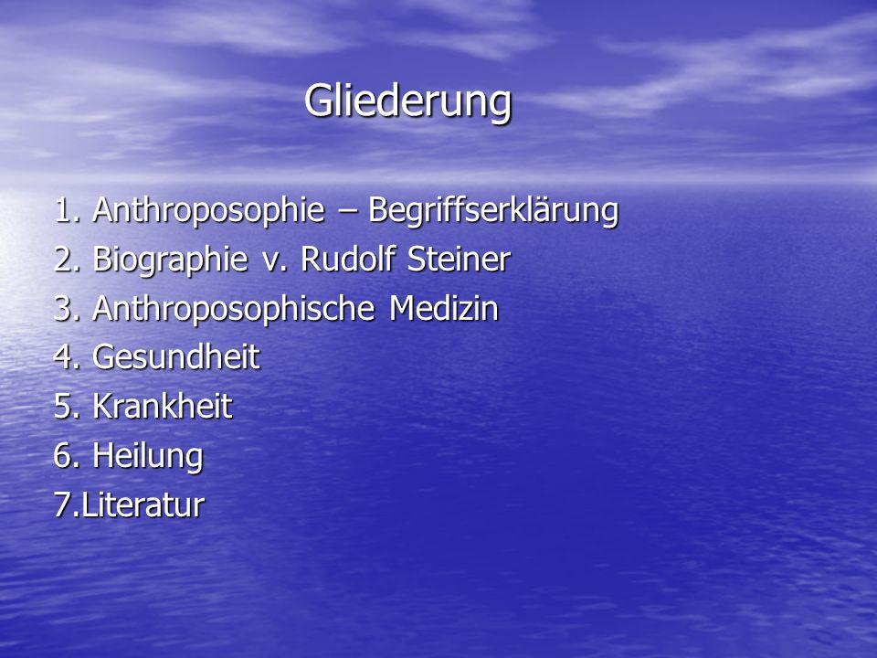 Gliederung 1. Anthroposophie – Begriffserklärung