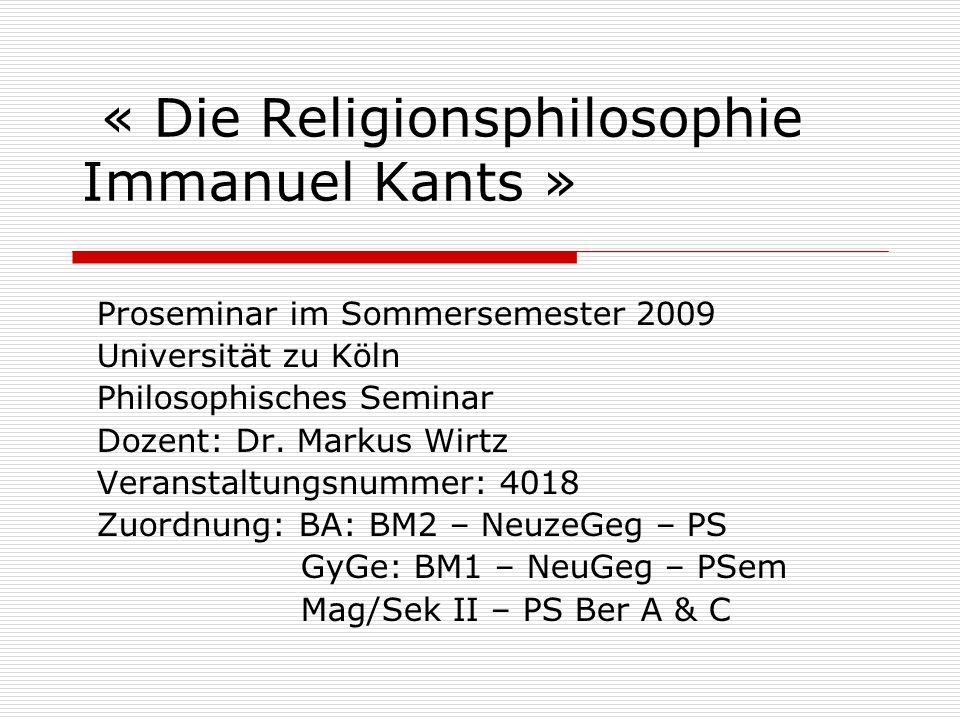 « Die Religionsphilosophie Immanuel Kants »