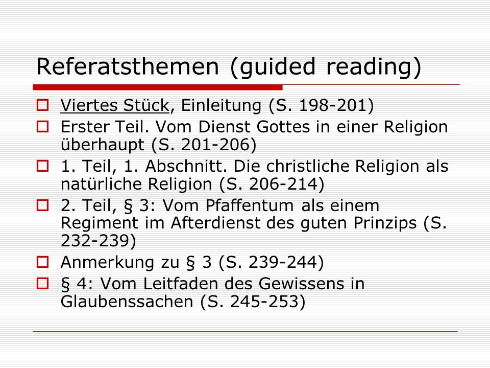 Referatsthemen (guided reading)
