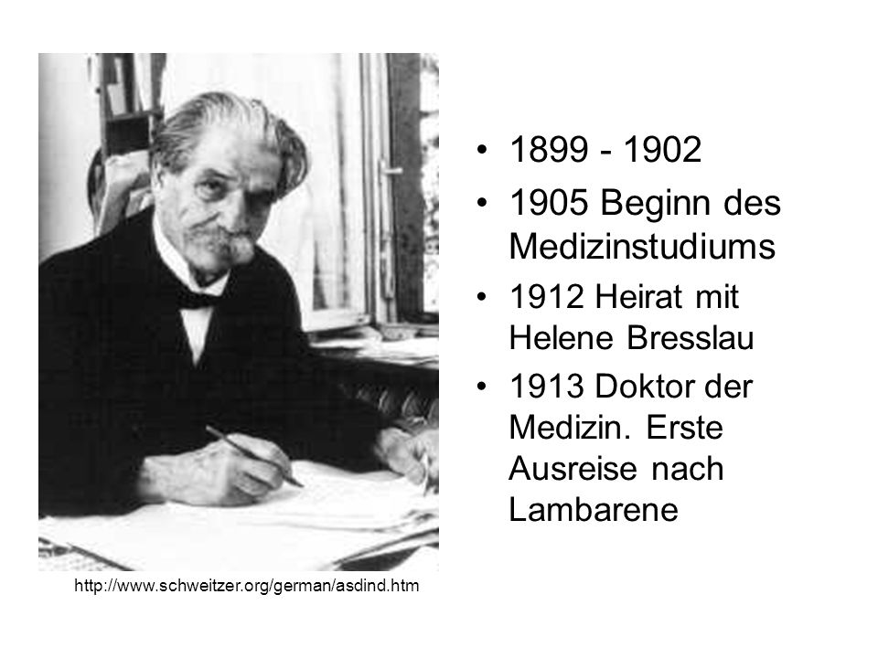 1905 Beginn des Medizinstudiums