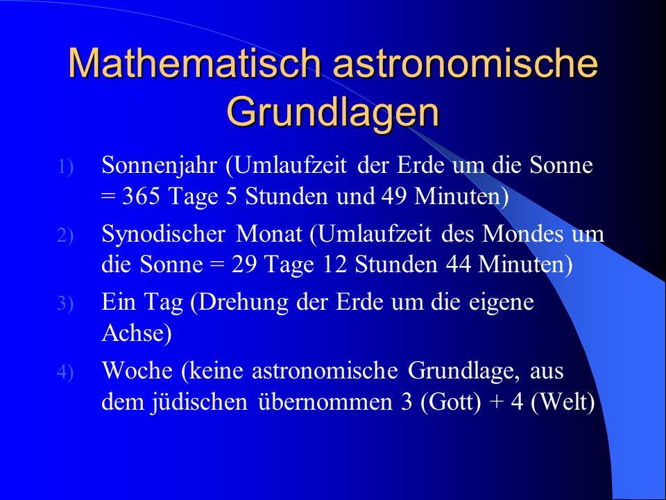 Mathematisch astronomische Grundlagen
