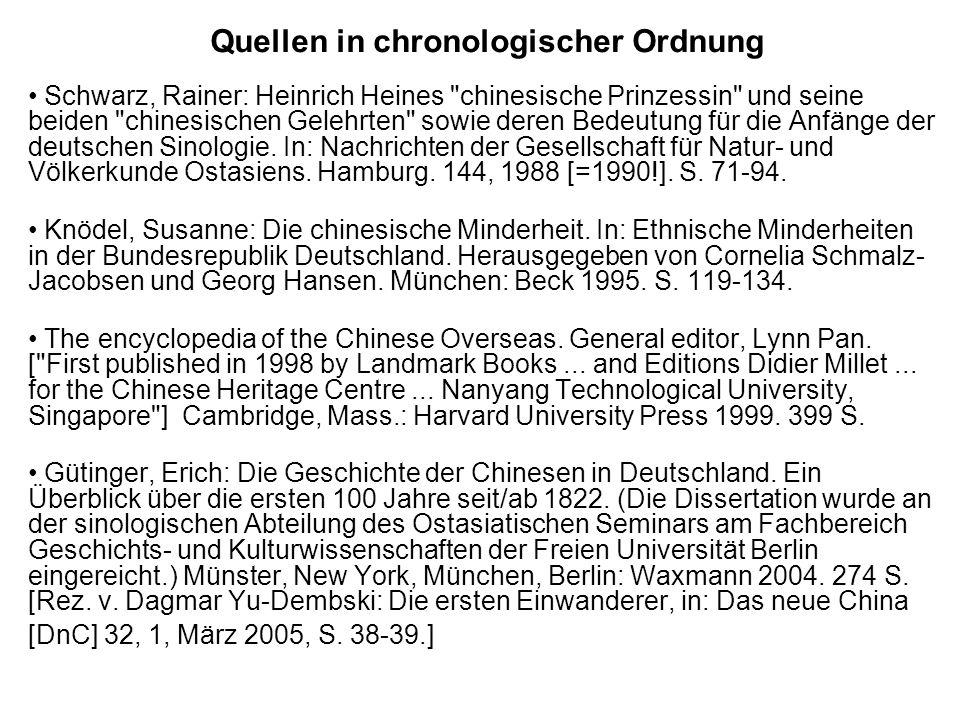Quellen in chronologischer Ordnung