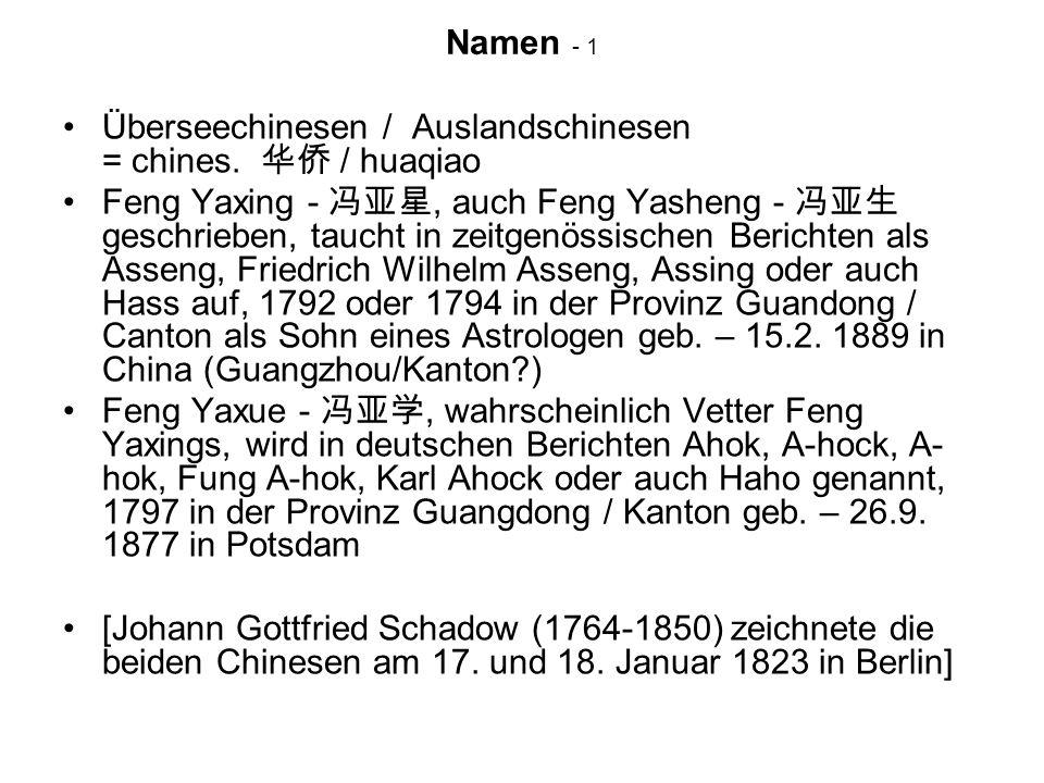 Namen - 1 Überseechinesen / Auslandschinesen = chines. 华侨 / huaqiao.