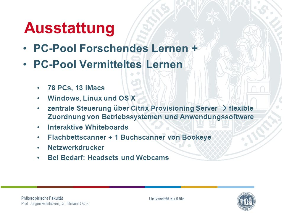 Ausstattung PC-Pool Forschendes Lernen + PC-Pool Vermitteltes Lernen