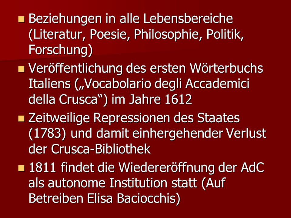 Beziehungen in alle Lebensbereiche (Literatur, Poesie, Philosophie, Politik, Forschung)