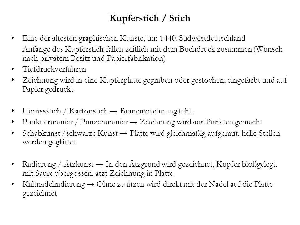 Kupferstich / Stich Eine der ältesten graphischen Künste, um 1440, Südwestdeutschland.