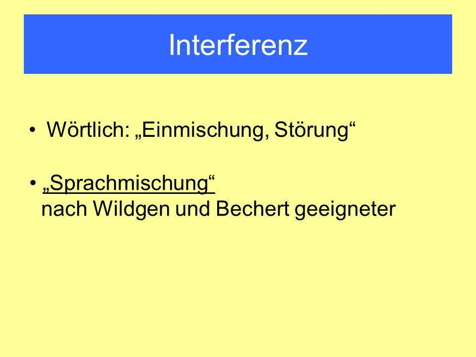 """Interferenz Wörtlich: """"Einmischung, Störung """"Sprachmischung"""