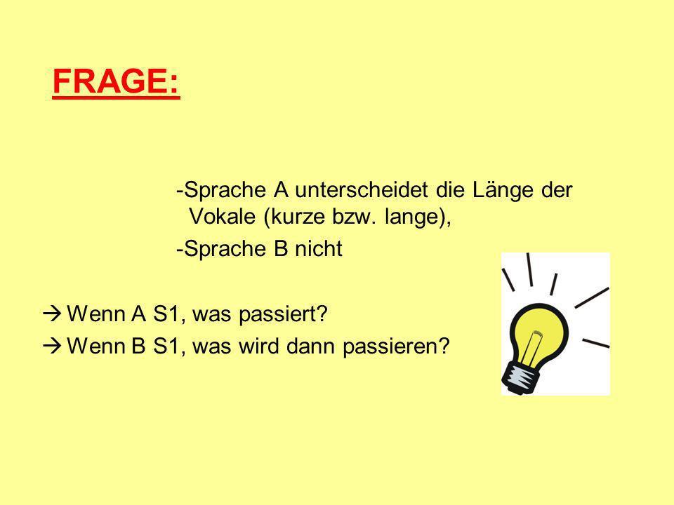 FRAGE: -Sprache A unterscheidet die Länge der Vokale (kurze bzw. lange), -Sprache B nicht. Wenn A S1, was passiert