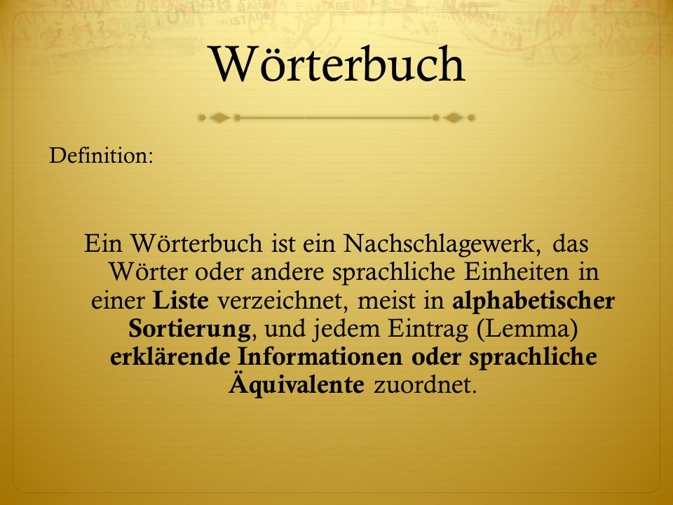 Wörterbuch Definition: