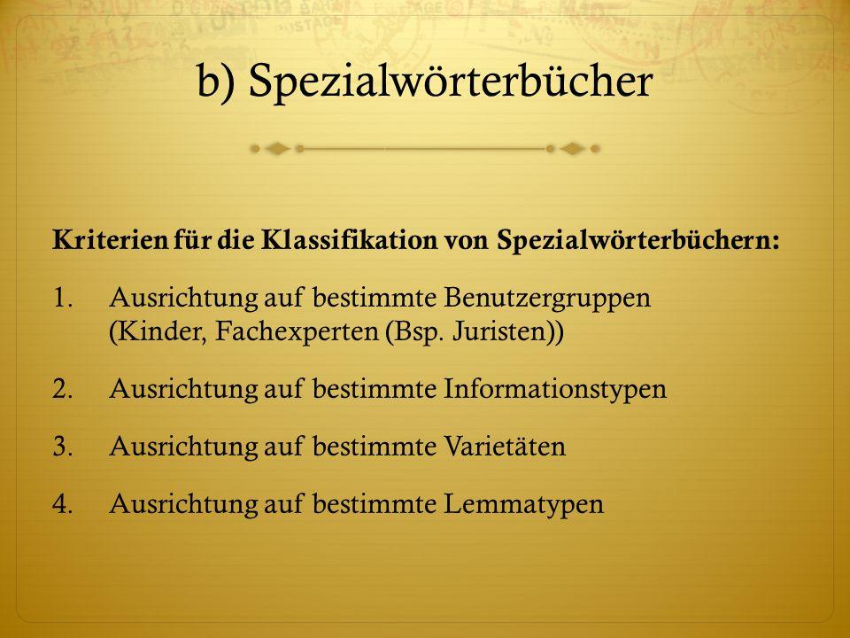 b) Spezialwörterbücher