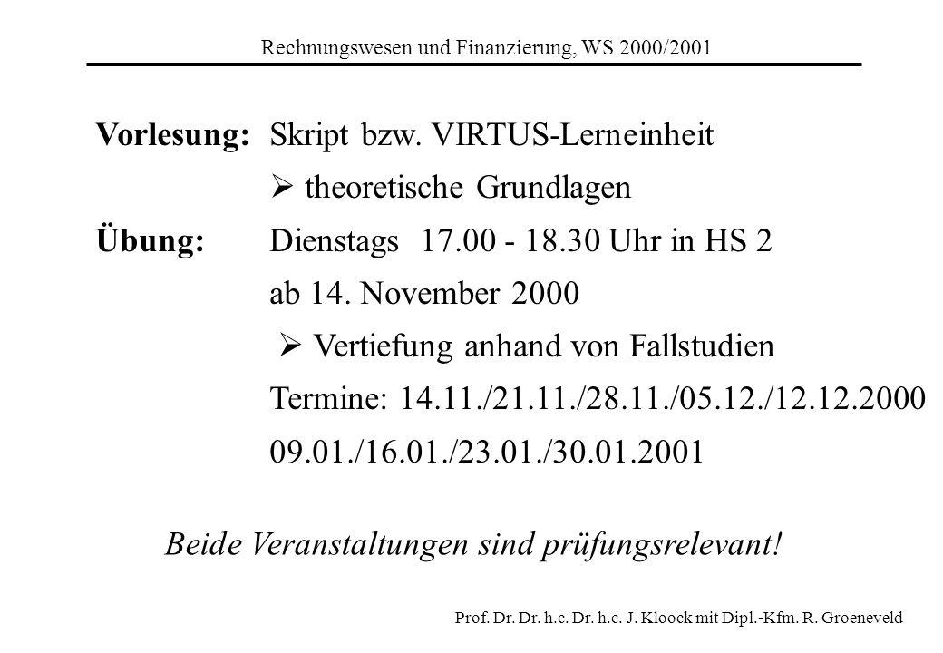 Vorlesung: Skript bzw. VIRTUS-Lerneinheit  theoretische Grundlagen