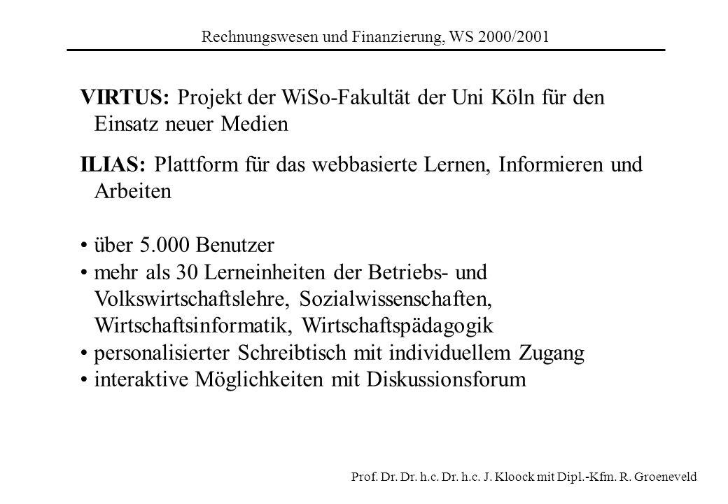 Rechnungswesen und Finanzierung, WS 2000/2001