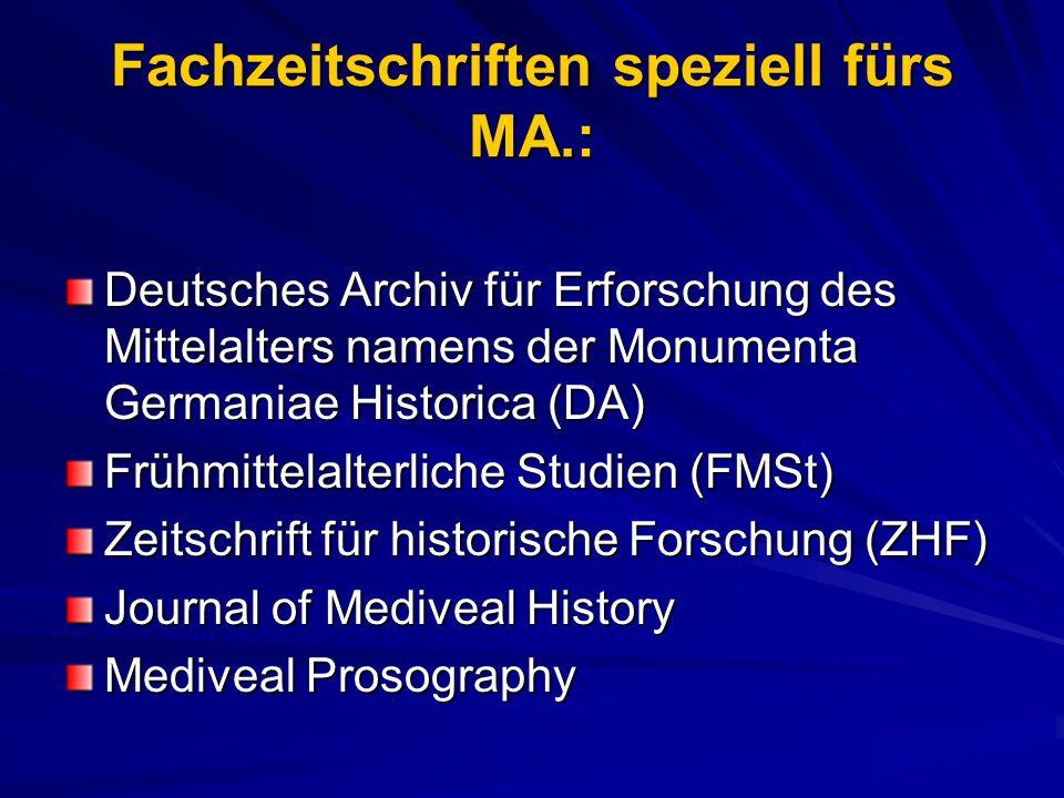 Fachzeitschriften speziell fürs MA.: