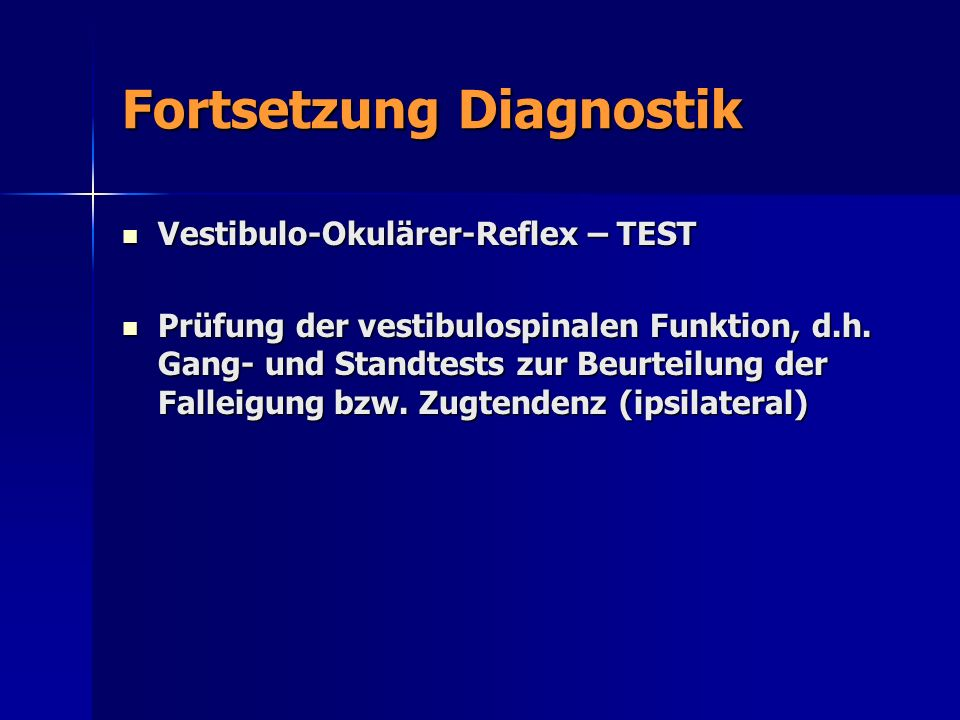 Fortsetzung Diagnostik