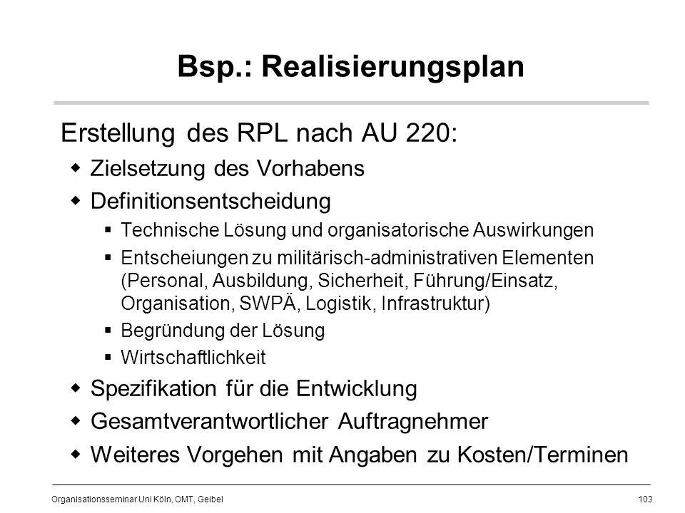 Bsp.: Realisierungsplan