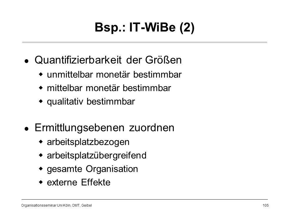 Bsp.: IT-WiBe (2) Quantifizierbarkeit der Größen