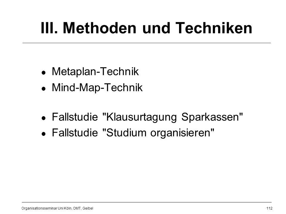 III. Methoden und Techniken