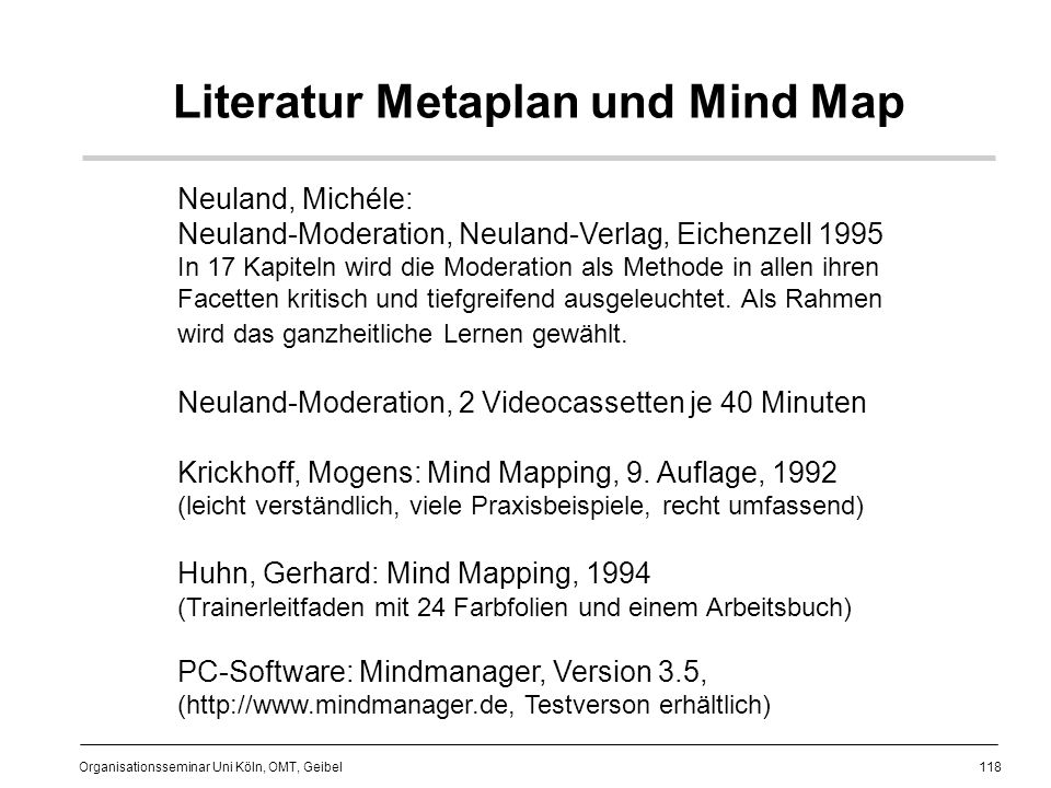 Literatur Metaplan und Mind Map