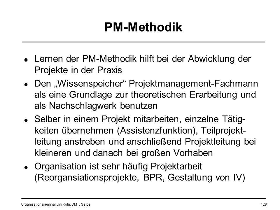 PM-Methodik Lernen der PM-Methodik hilft bei der Abwicklung der Projekte in der Praxis.