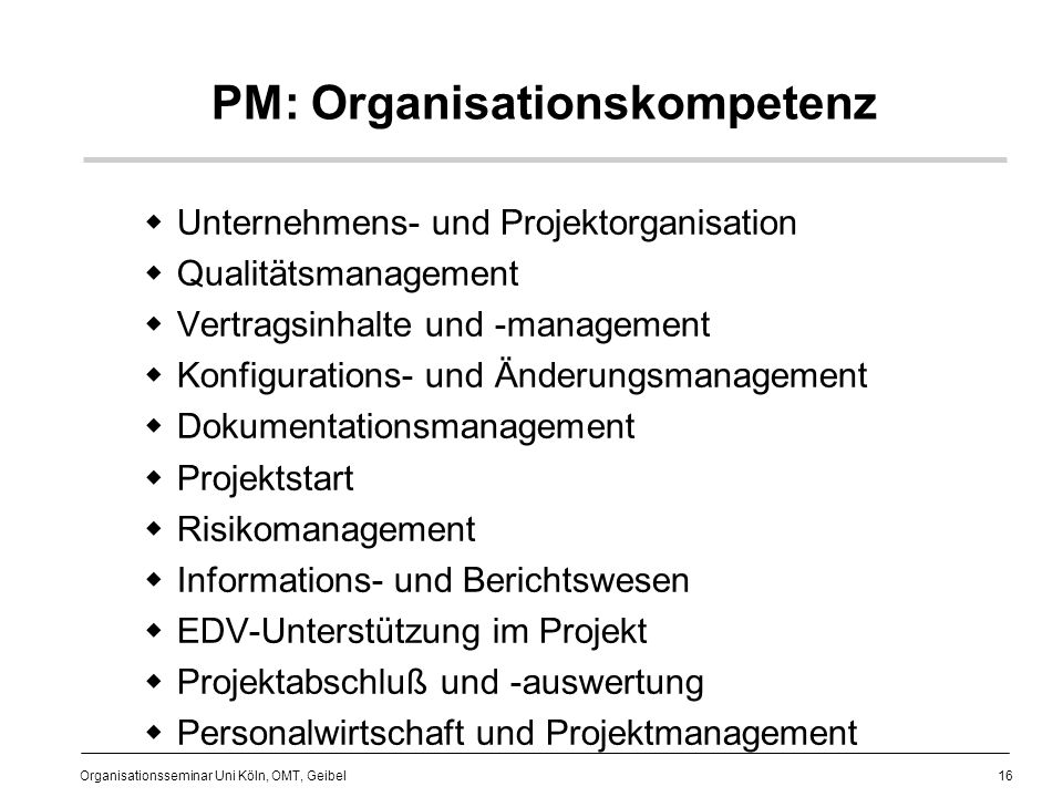 PM: Organisationskompetenz