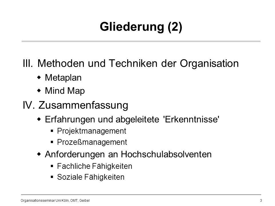 Gliederung (2) III. Methoden und Techniken der Organisation