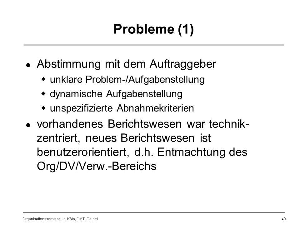 Probleme (1) Abstimmung mit dem Auftraggeber