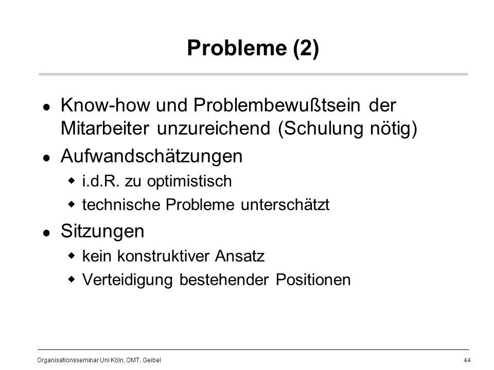 Probleme (2) Know-how und Problembewußtsein der Mitarbeiter unzureichend (Schulung nötig) Aufwandschätzungen.