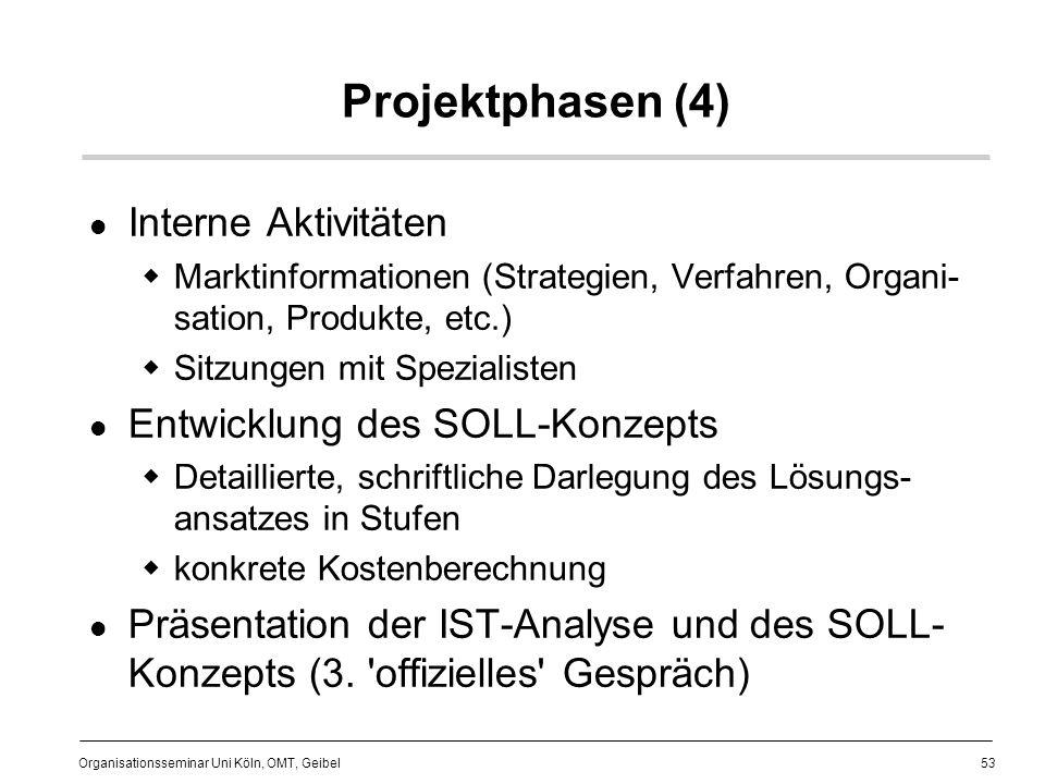Projektphasen (4) Interne Aktivitäten Entwicklung des SOLL-Konzepts
