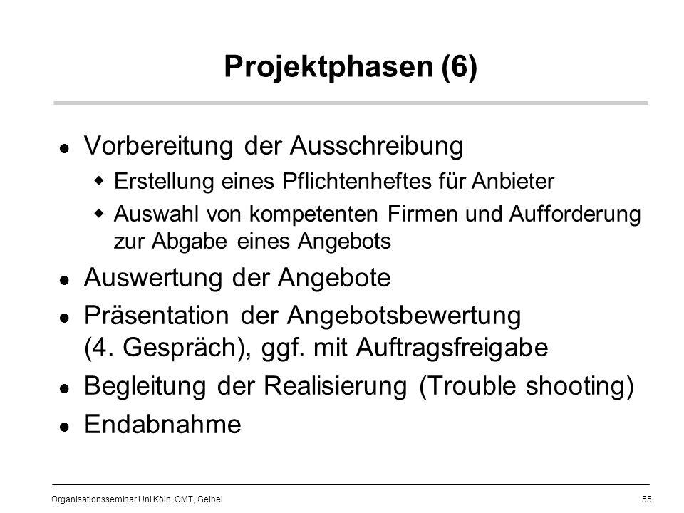 Projektphasen (6) Vorbereitung der Ausschreibung