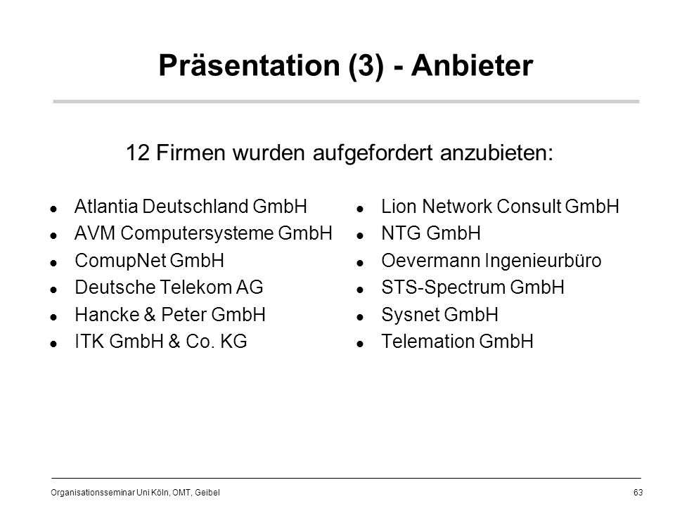 Präsentation (3) - Anbieter