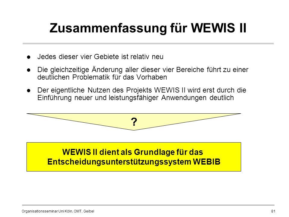 Zusammenfassung für WEWIS II