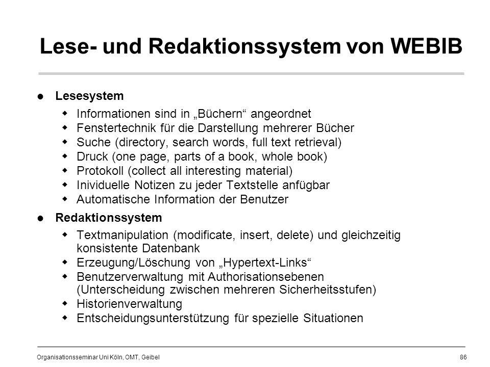 Lese- und Redaktionssystem von WEBIB