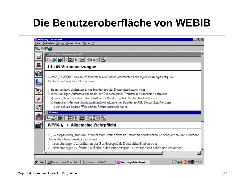 Die Benutzeroberfläche von WEBIB