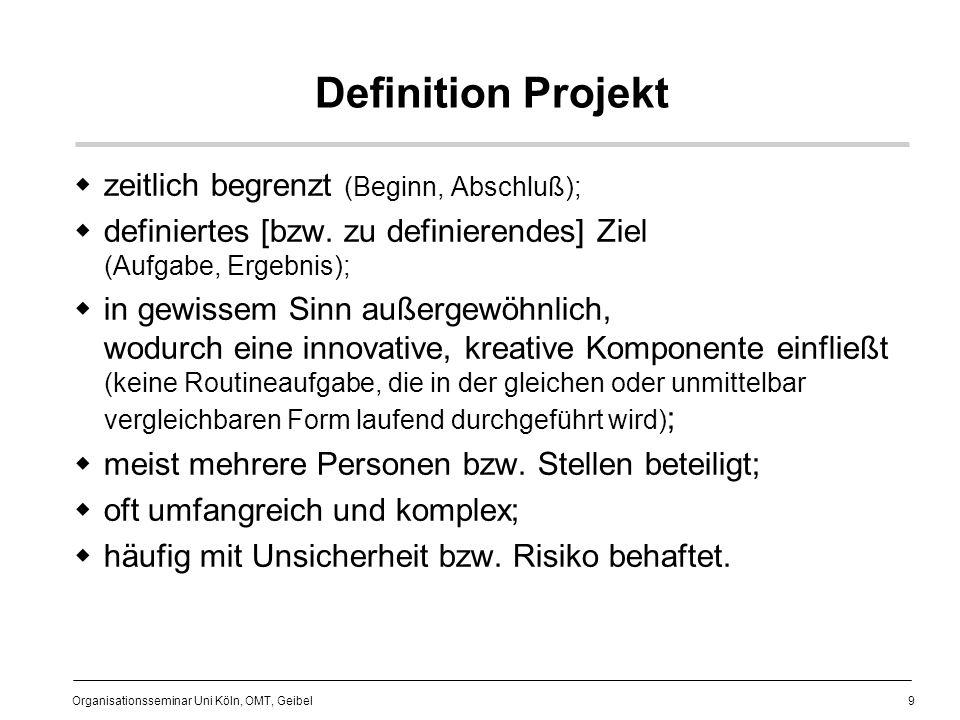 Definition Projekt zeitlich begrenzt (Beginn, Abschluß);