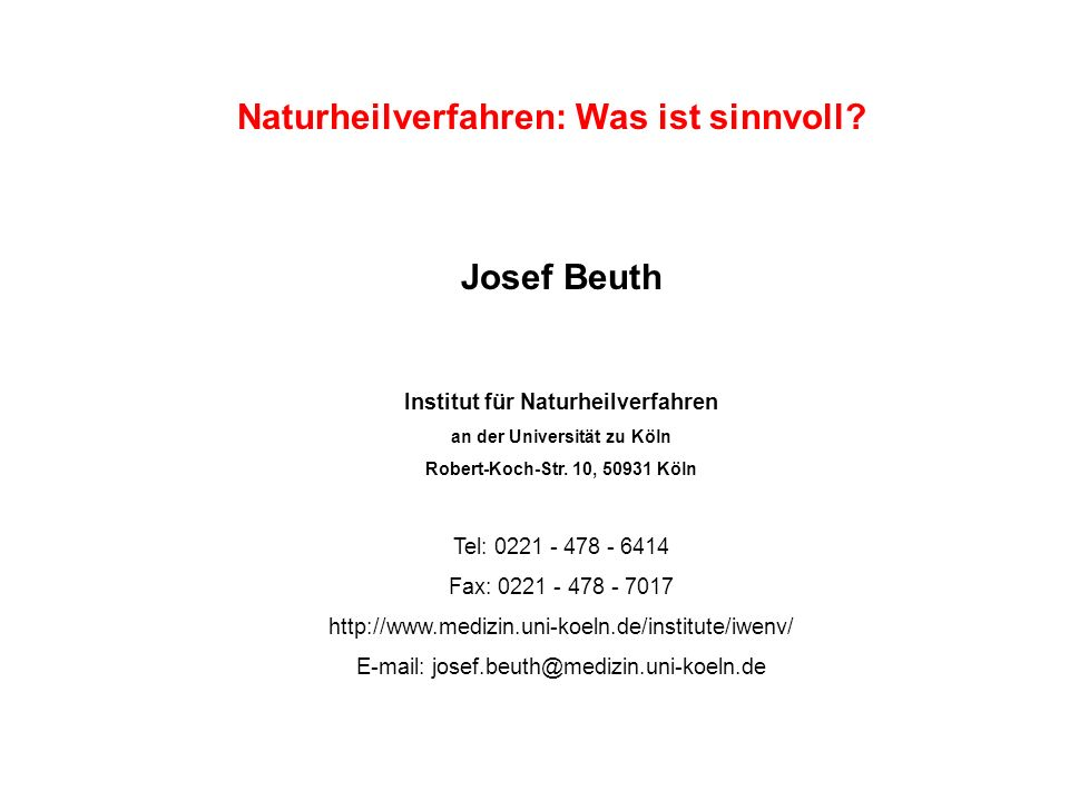 Naturheilverfahren: Was ist sinnvoll Josef Beuth