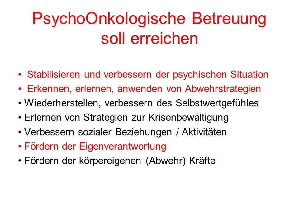 PsychoOnkologische Betreuung soll erreichen