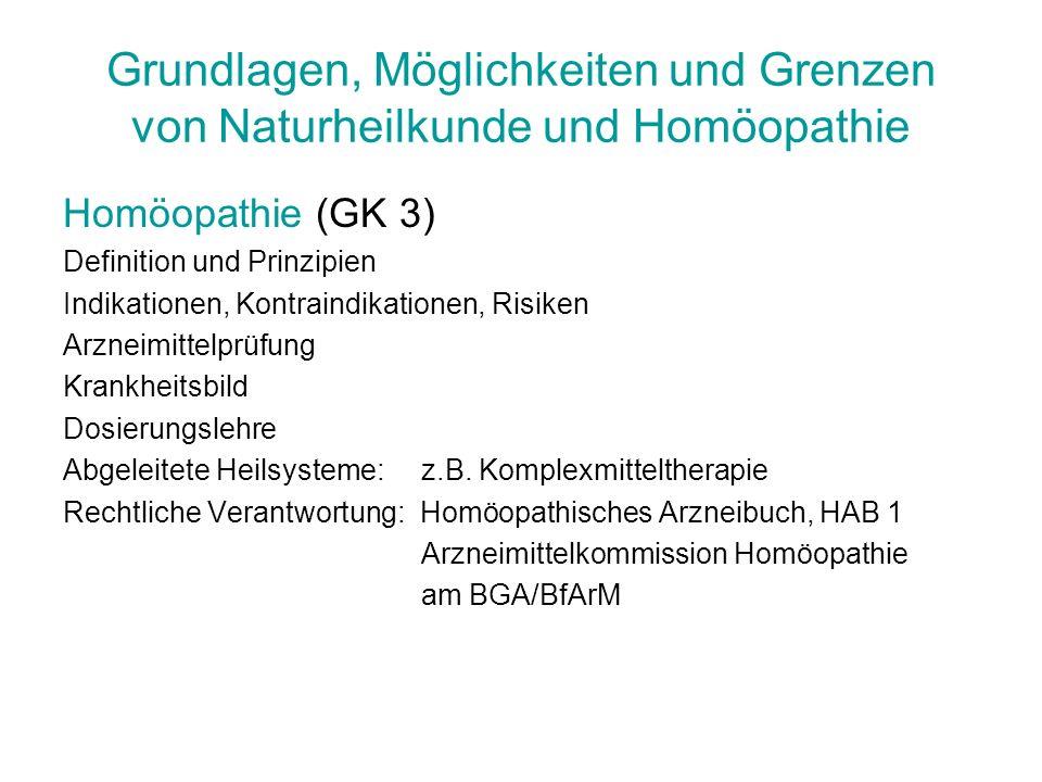Grundlagen, Möglichkeiten und Grenzen von Naturheilkunde und Homöopathie