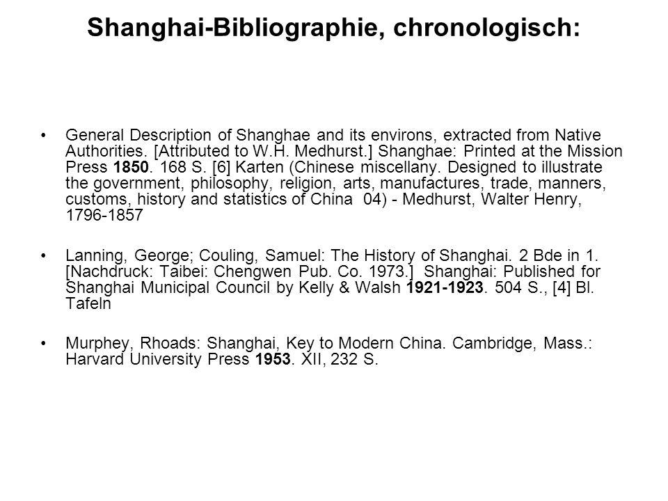 Shanghai-Bibliographie, chronologisch: