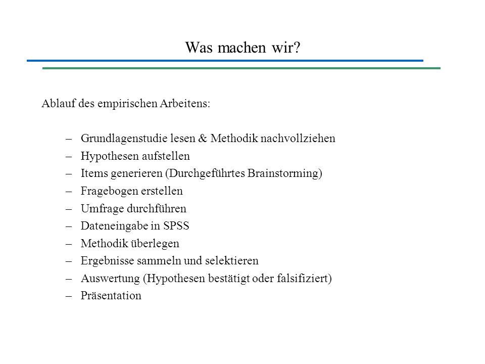 Was machen wir Ablauf des empirischen Arbeitens: