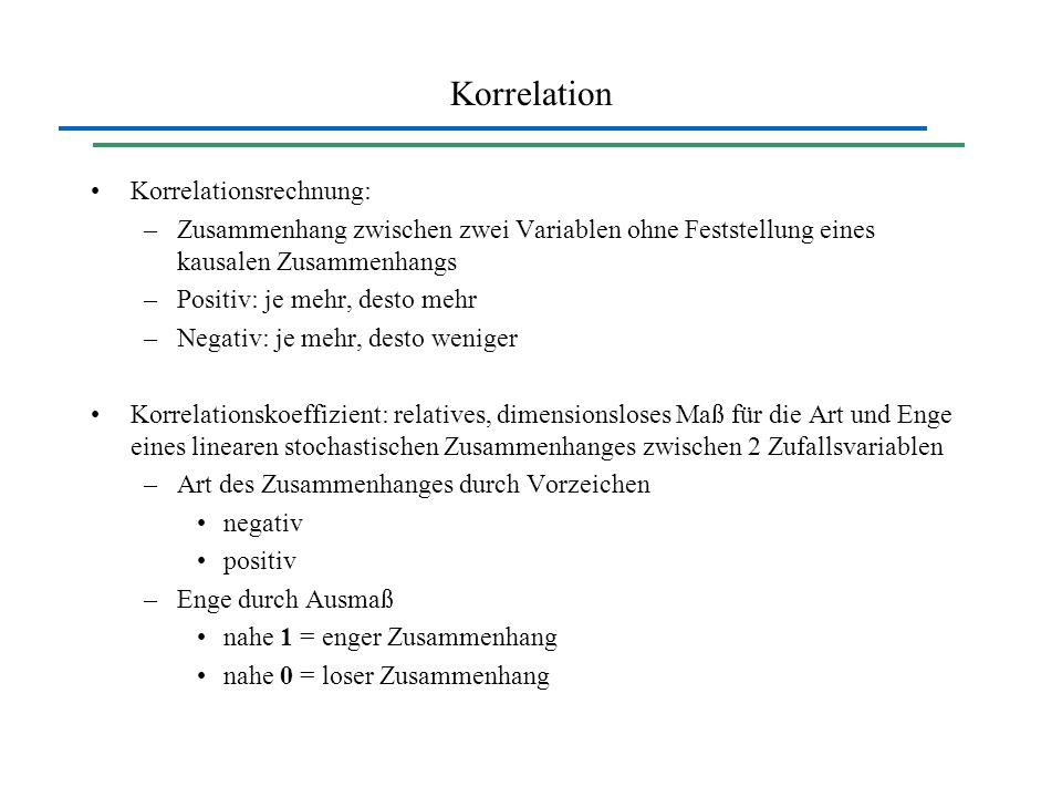 Korrelation Korrelationsrechnung: