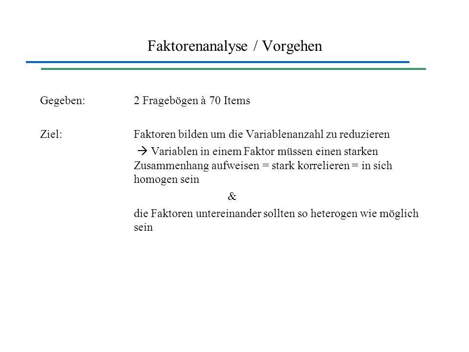 Faktorenanalyse / Vorgehen