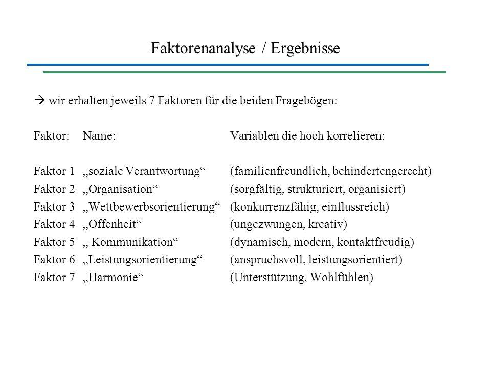Faktorenanalyse / Ergebnisse