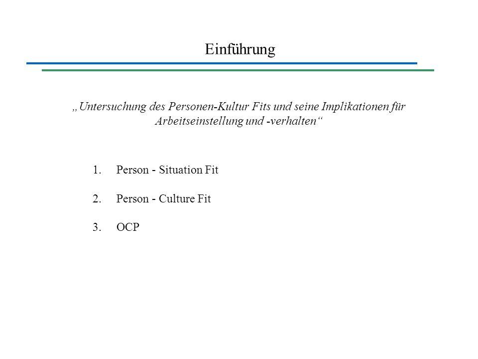 """Einführung """"Untersuchung des Personen-Kultur Fits und seine Implikationen für Arbeitseinstellung und -verhalten"""