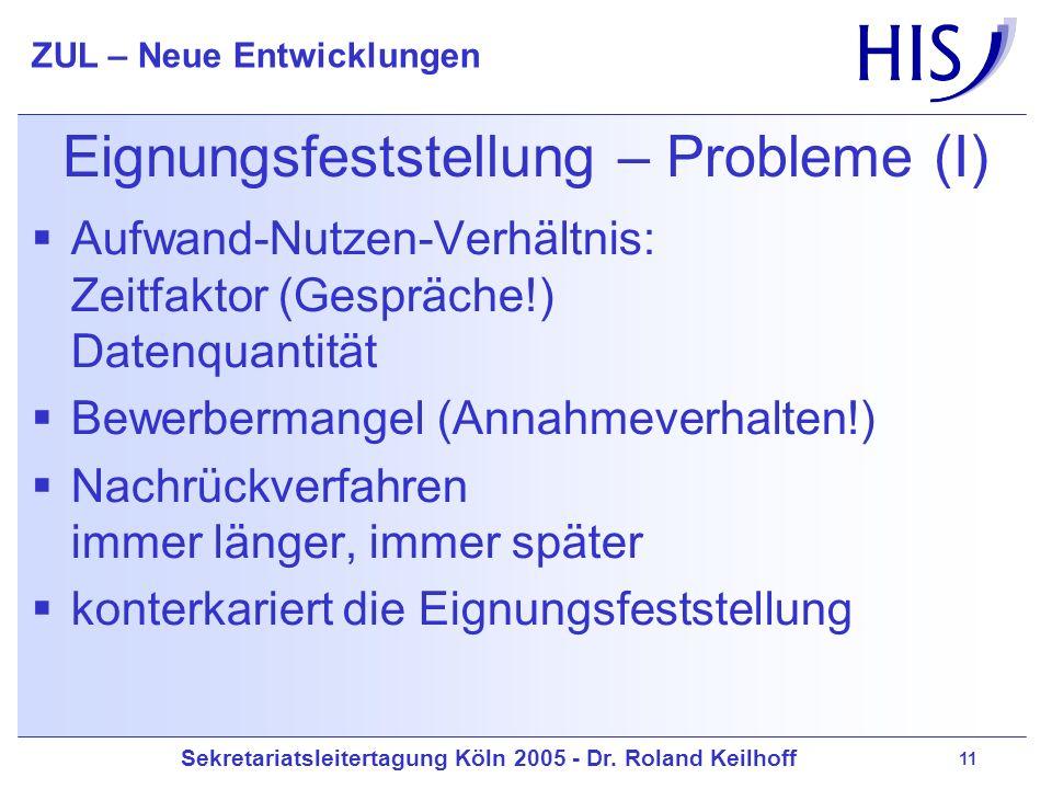 Eignungsfeststellung – Probleme (I)
