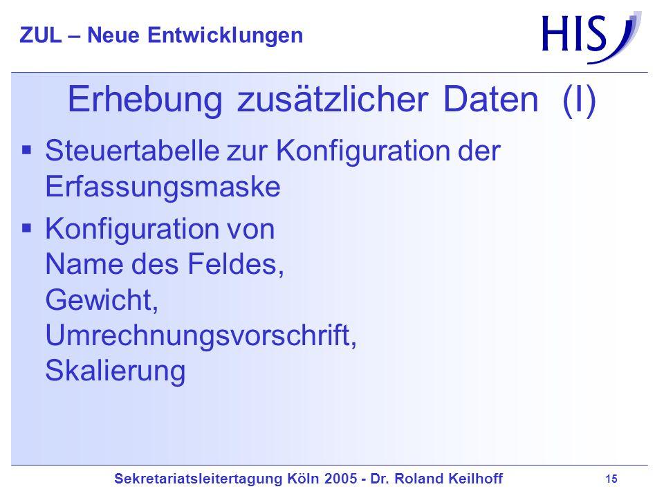 Erhebung zusätzlicher Daten (I)